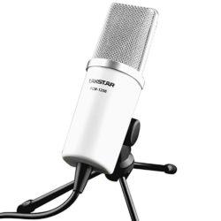 Mondpalast Profi Kondensator Mikrofon weiß schwarzVoll Set Silber-Kopf STUDIO Mic Broadcasting (inkl. Tisch-Stativ) für Podcasts, Let's Plays und Gesang