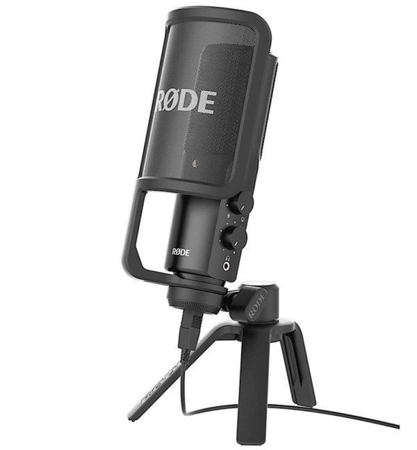 Rode NTUSB Studioqualität USB Kondensatormikrofon mit Tischstativ und Popschutz – Let's Play Mikrofon