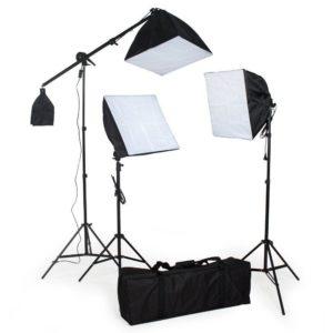 TecTake Komplettes Profi YouTube Studio Set inkl Leuchtmittel Studioset Softbox Studioleuchten ALU Studiolampe Stativ und Tasche