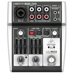 Behringer XENYX 302USB 5-Input Mixer mit XENYX Mic Preamp und eingebautem USB Audio Interface für YouTuber Lets Player Plays Podcaster Podcasts YouTube